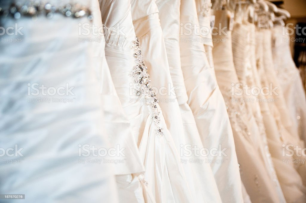 wedding dresses in a bridal store royalty-free stock photo