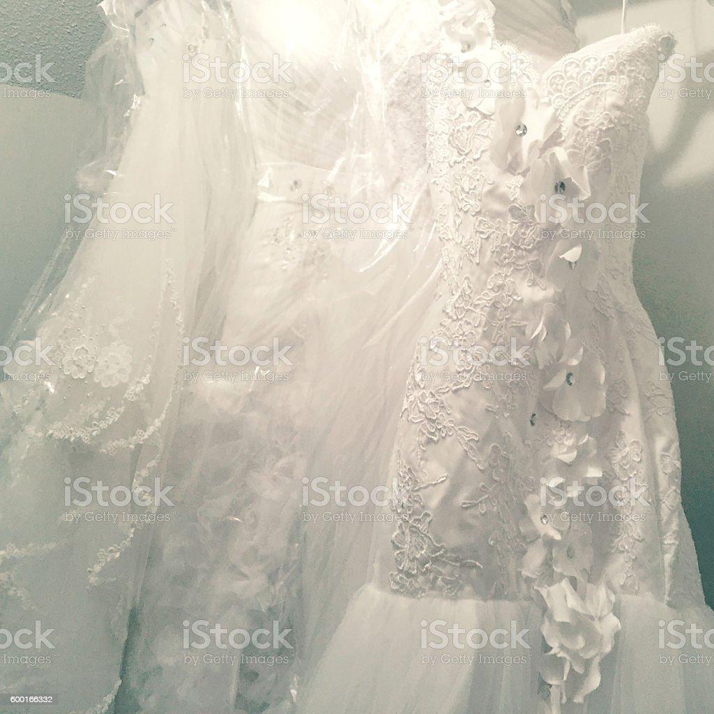 Wedding Dresses in Closet stock photo