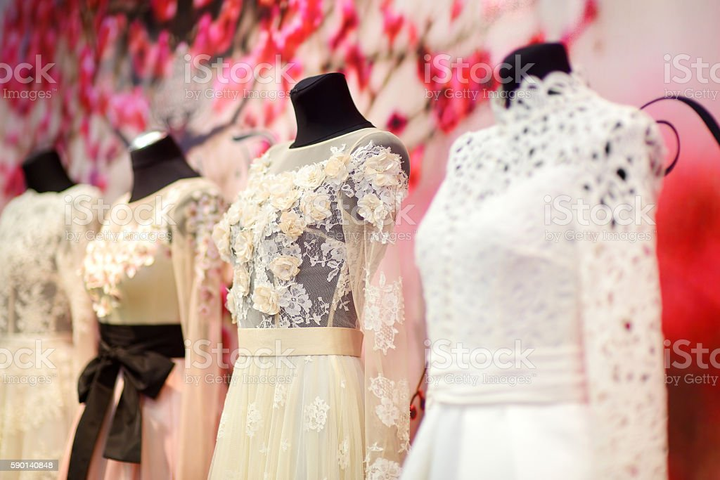 Wedding dresses on a mannequins stock photo