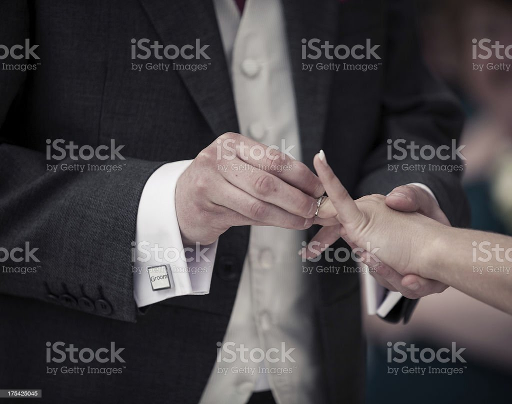 Wedding:  exchange of rings royalty-free stock photo
