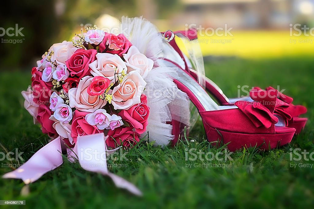 wedding flower and shoes stock photo