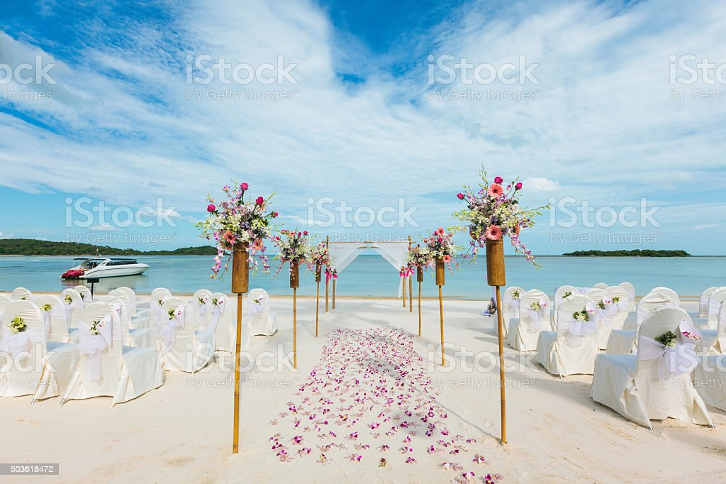 wedding flower setting stock photo