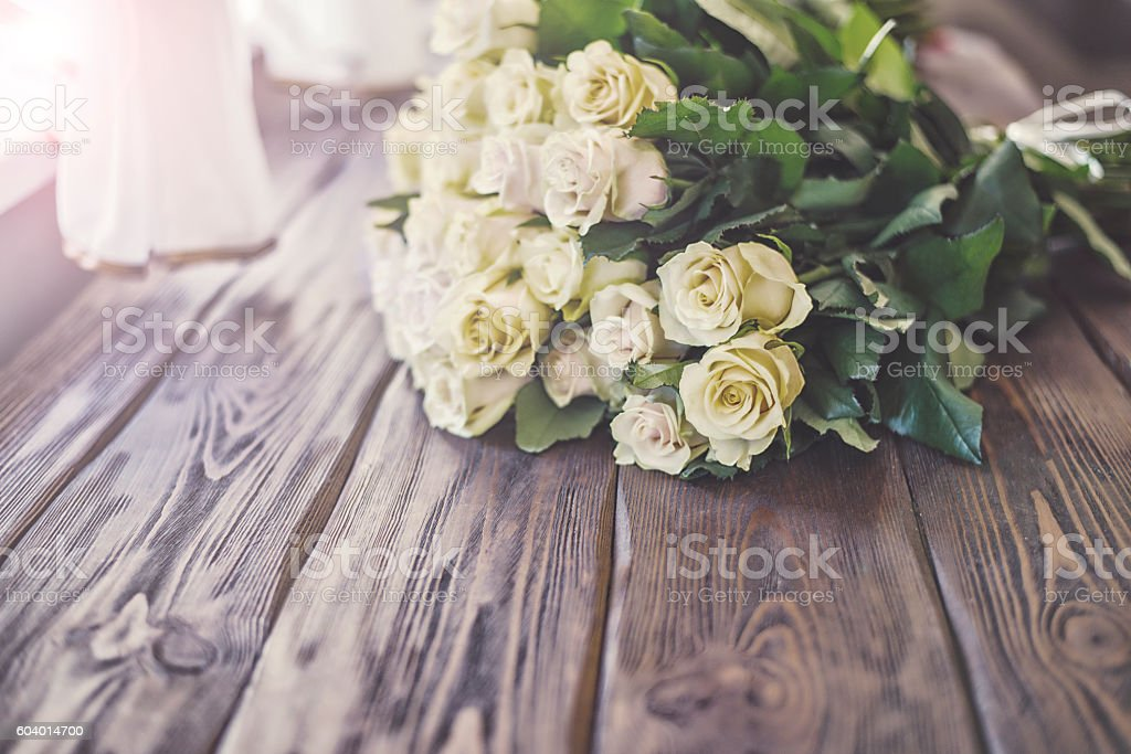 wedding flowers from pink yellow flower. stock photo