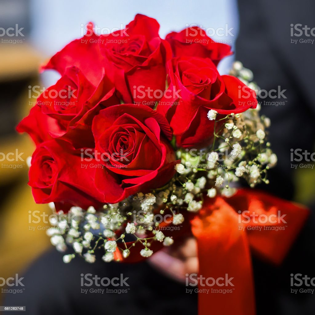 wedding flowers, groom holds bouquet red roses, bouquet of roses, bridal bouquet, groom's fees stock photo