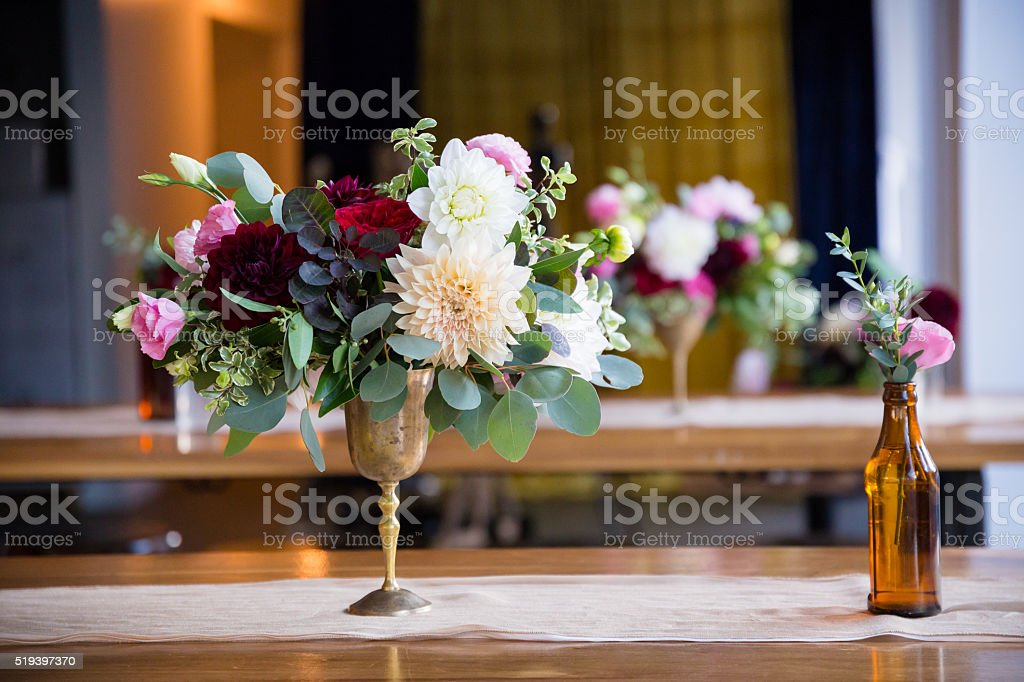 Wedding Flowers in Bottles stock photo