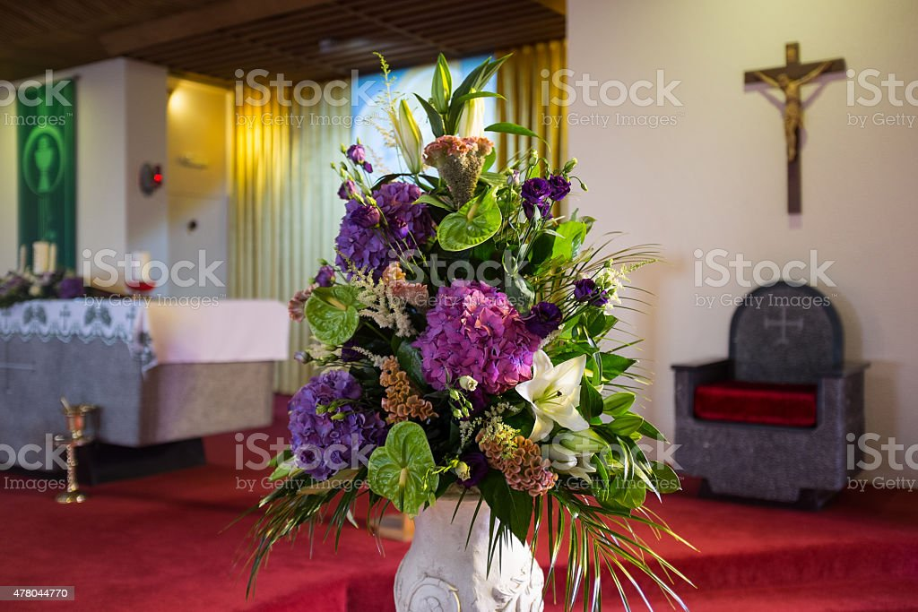 Wedding flowers in Church. stock photo