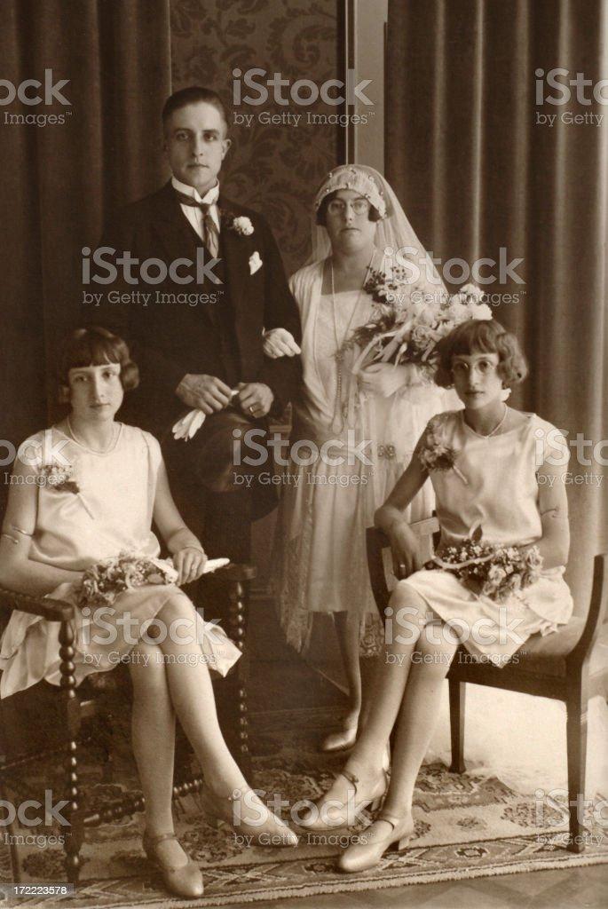 Wedding from the thirties or twenties stock photo
