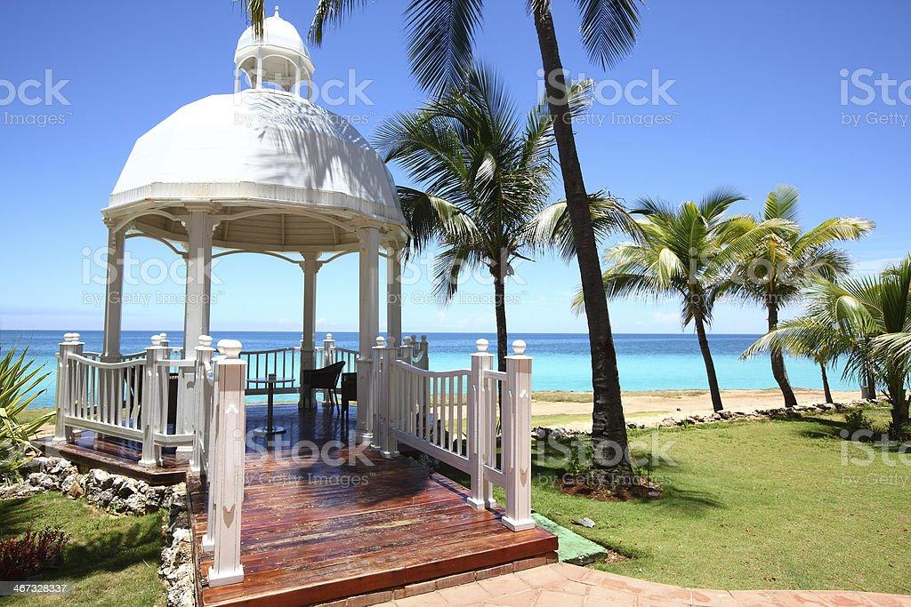Wedding Gazebo by the sea - Cuba stock photo