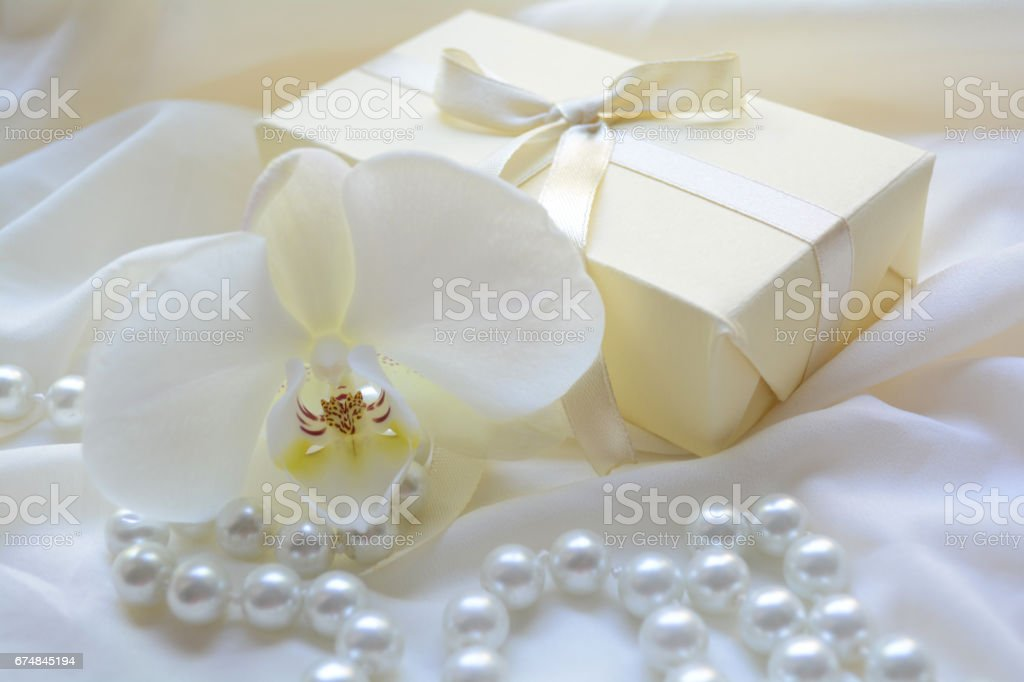 Orchid flower delicate necklace and box gift