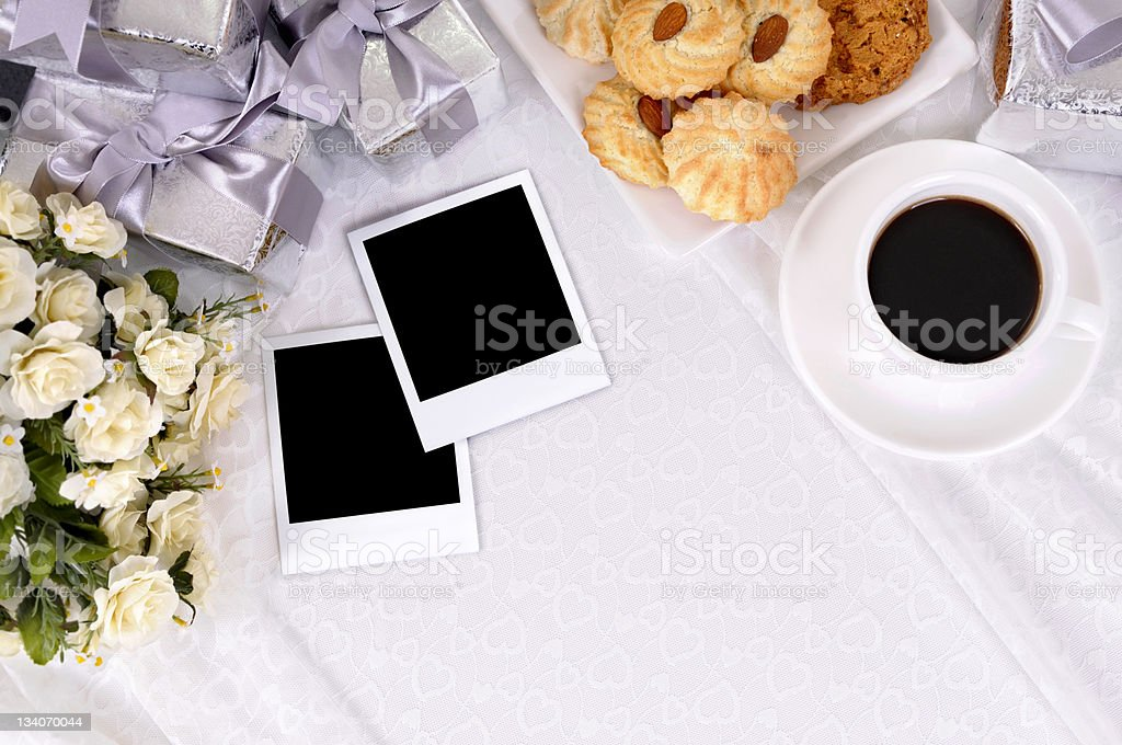 Wedding gifts and blank photo prints royalty-free stock photo