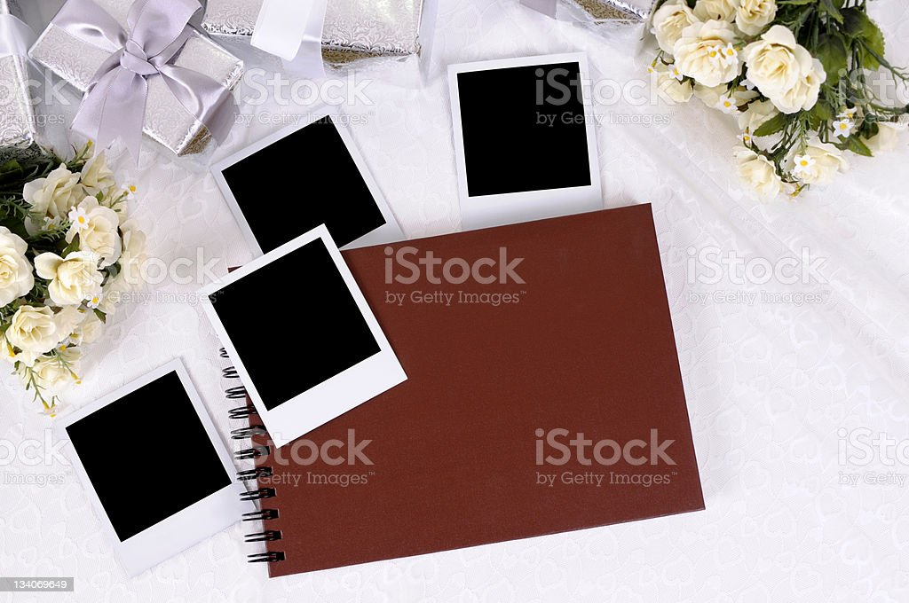 Wedding gifts and photo album stock photo