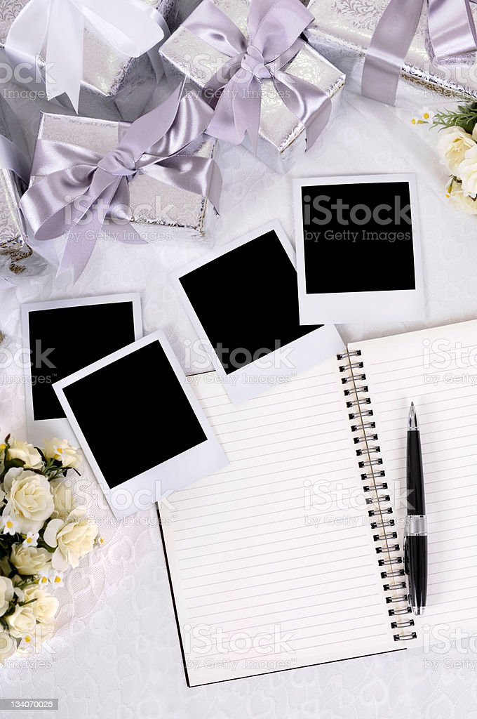 Wedding gifts and photos stock photo