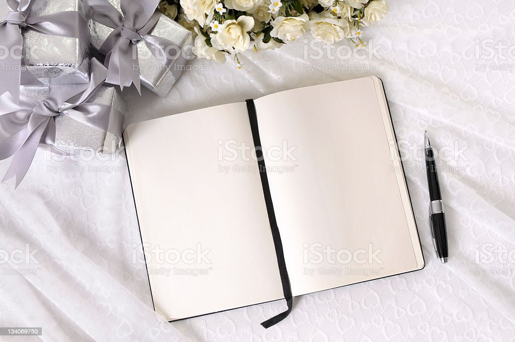 Wedding gifts and writing book royalty-free stock photo