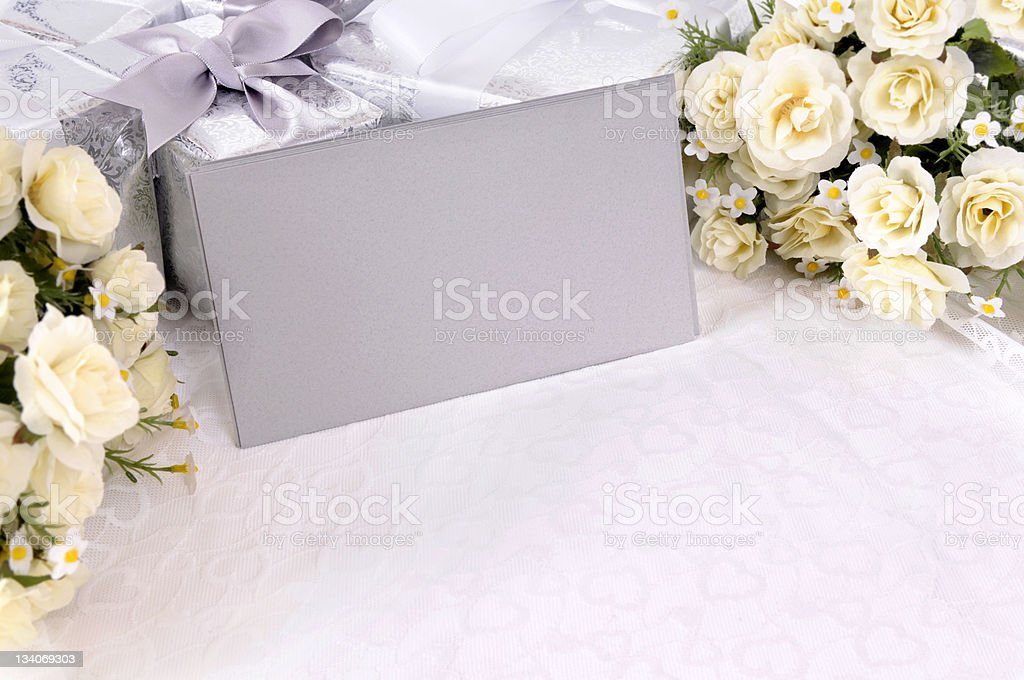 Wedding gifts with invitation envelopes royalty-free stock photo