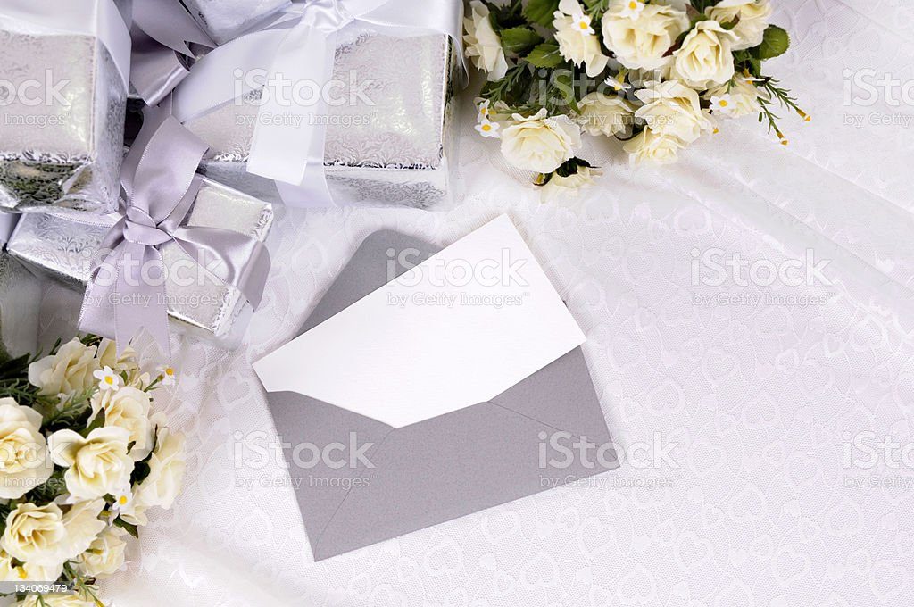 Wedding gifts with invitation or thank you card stock photo