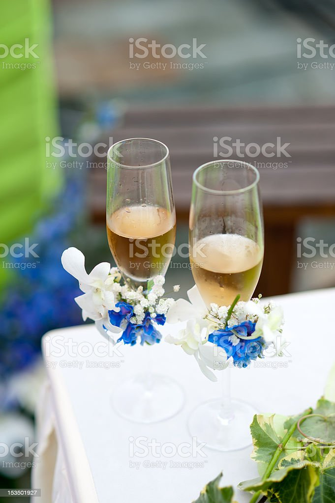 Wedding glasses with champagne royalty-free stock photo