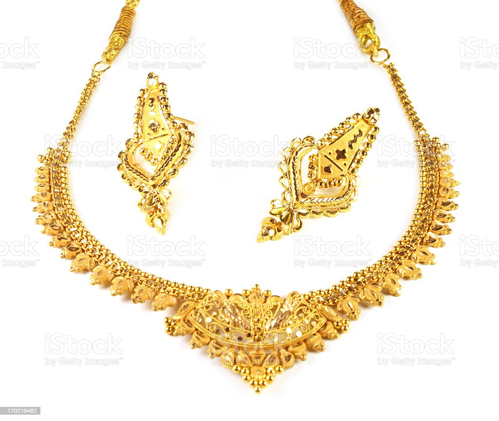 Wedding gold jewelry for Indian bride stock photo