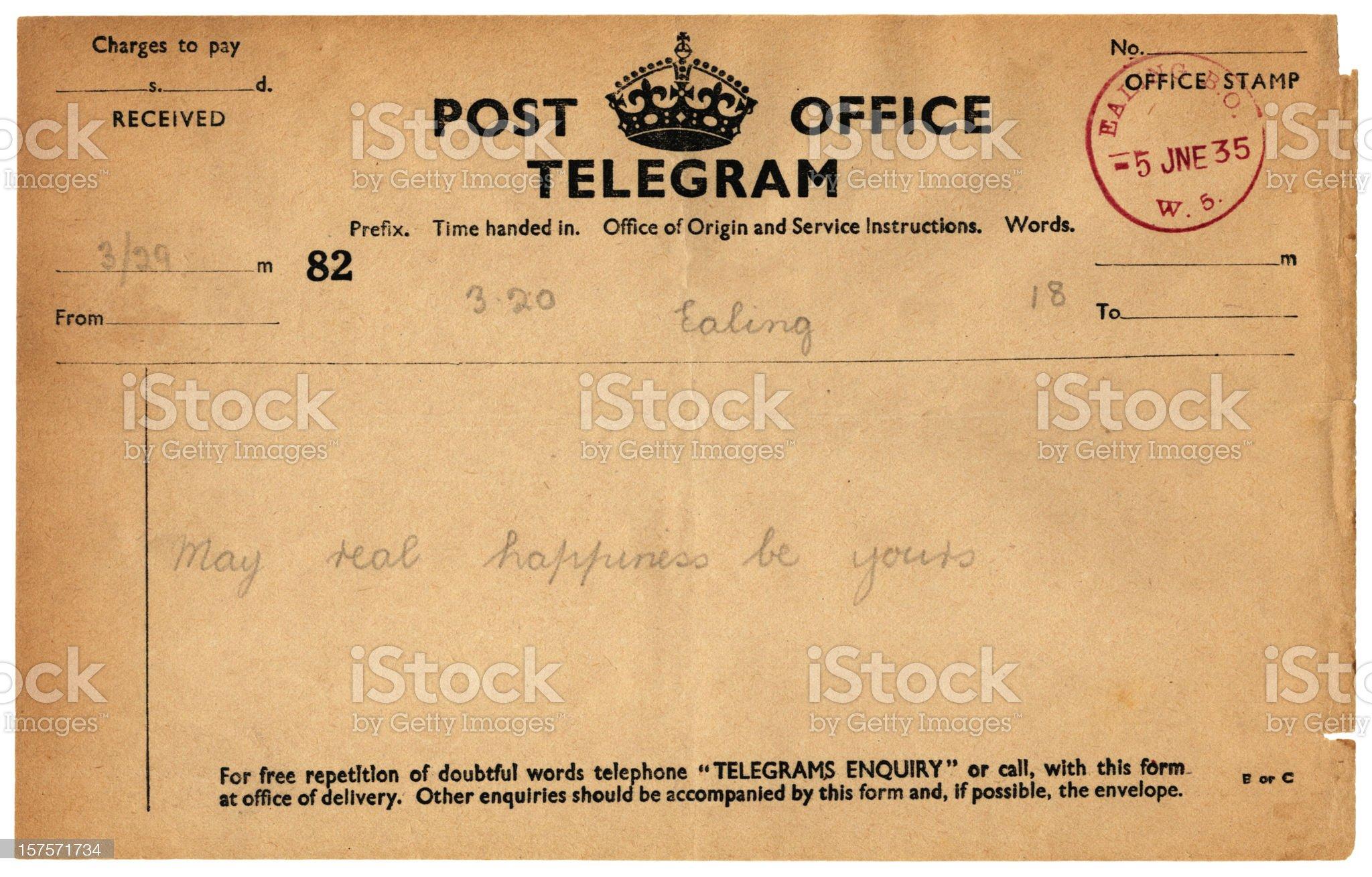 Wedding good wishes telegram, 1935 royalty-free stock photo