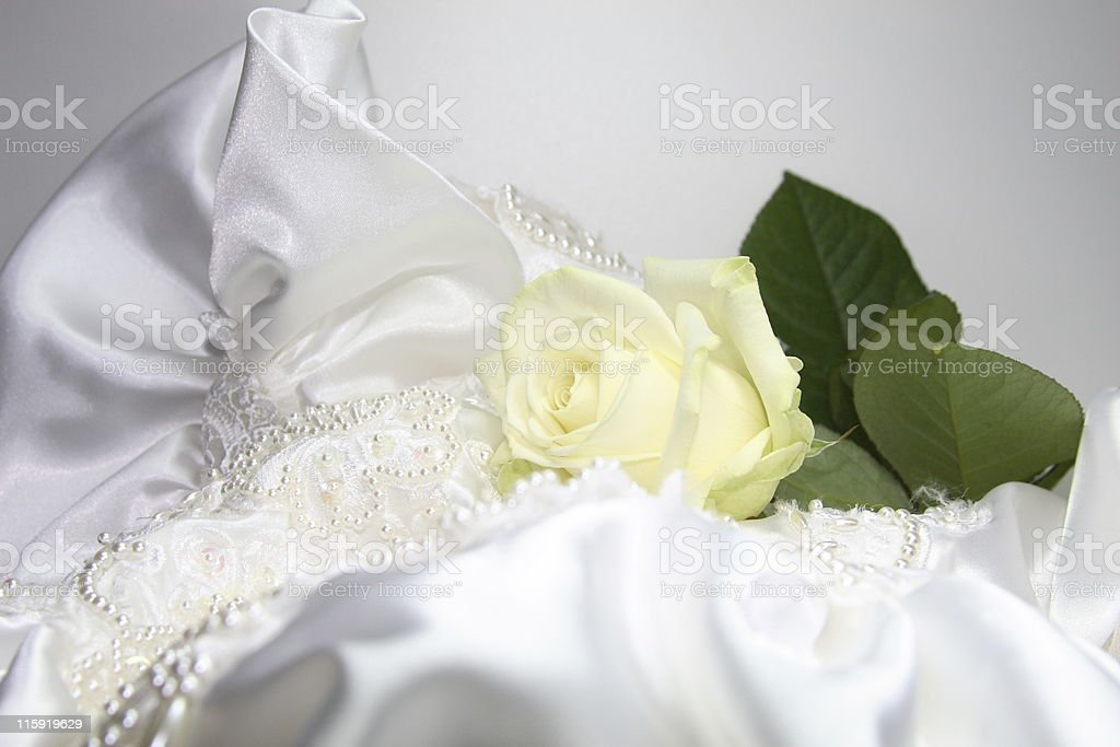 wedding gown  with rose royalty-free stock vector art