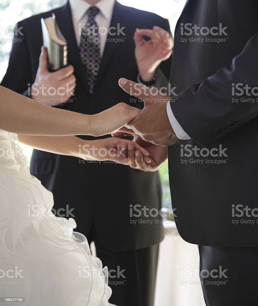 Wedding: Groom and Bride holding hands royalty-free stock photo