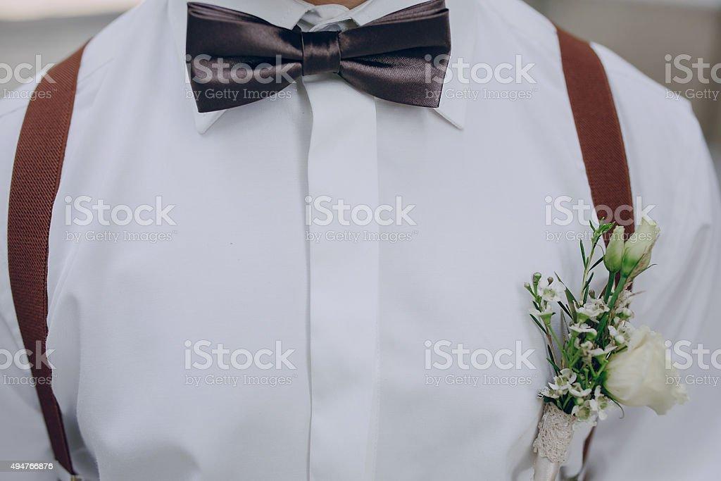 wedding groom bowtie stock photo