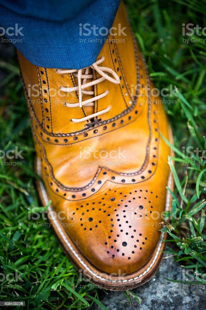 Wedding groom shoes stock photo