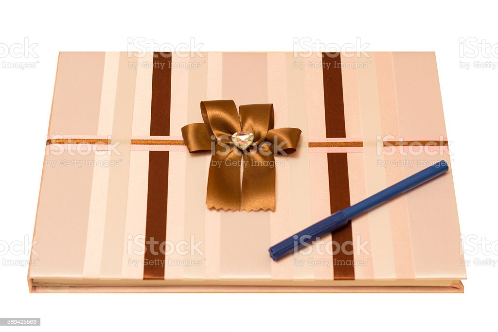 Wedding guest book on the bright table stock photo