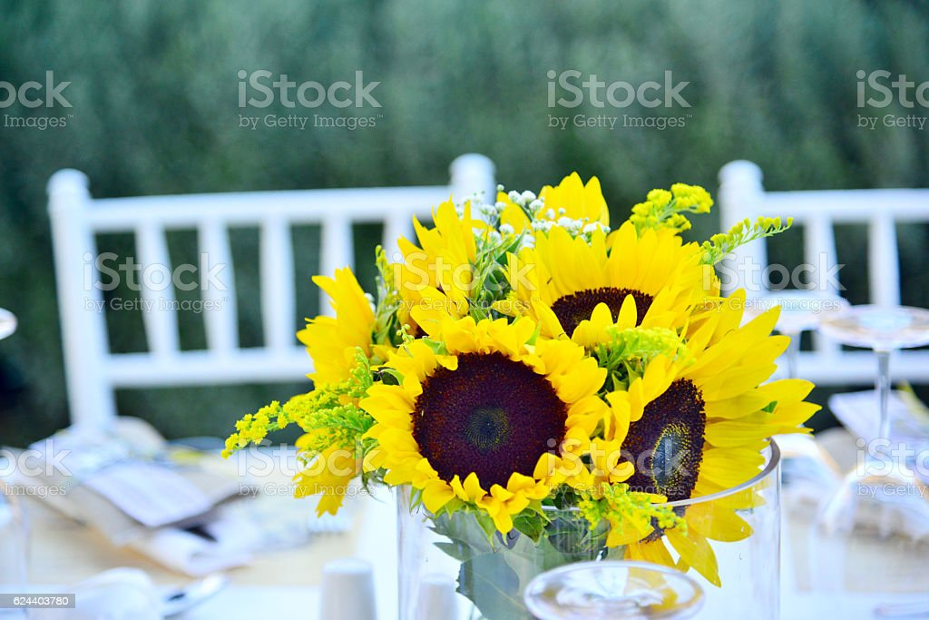 Wedding guest setup with sunflowers stock photo