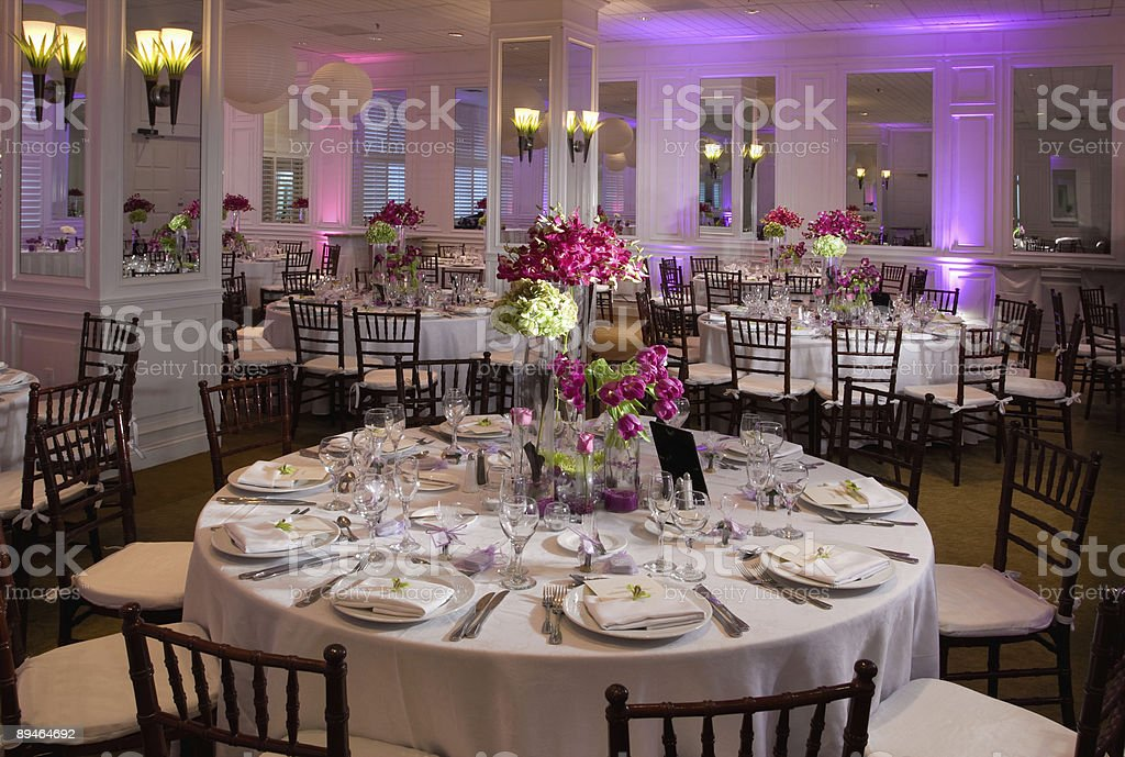 Wedding guest tables stock photo