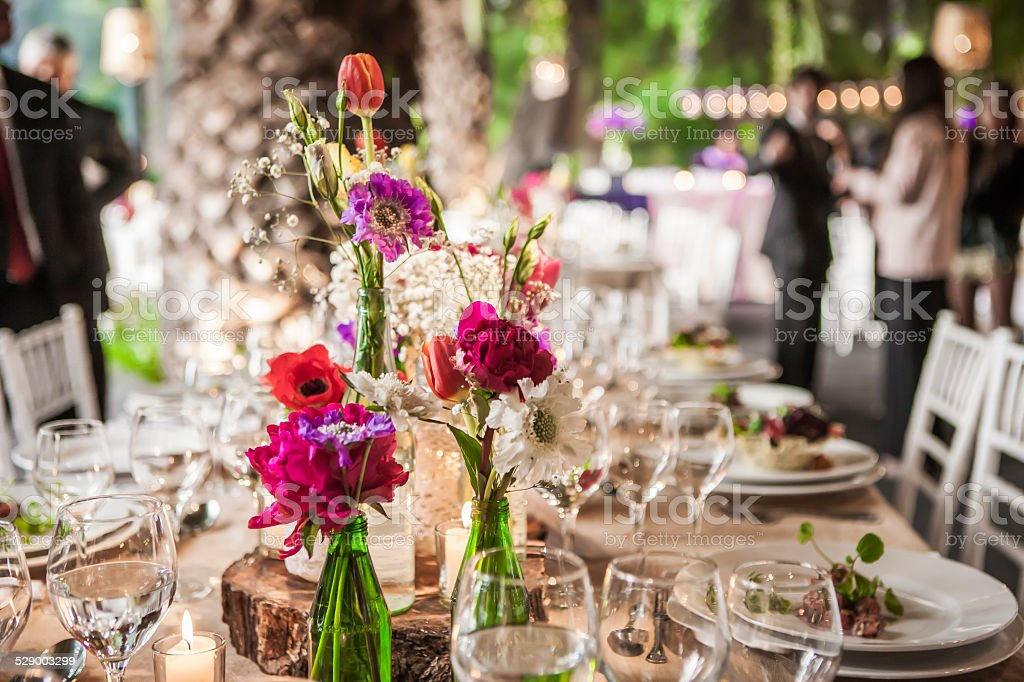 Wedding Hall before Dinner stock photo
