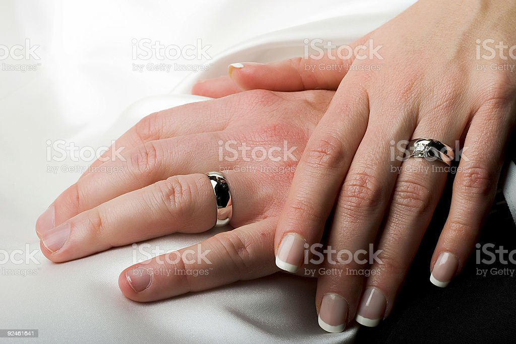 Wedding hands and rings royalty-free stock photo