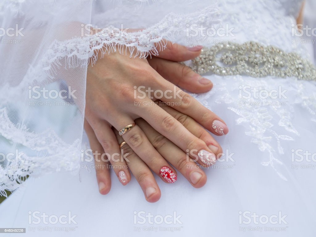 Wedding hands stock photo