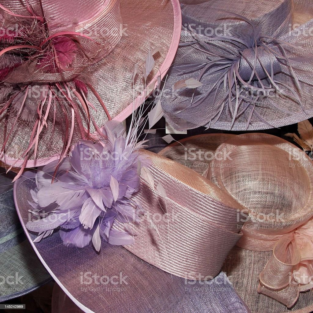 wedding hats on display in a shop stock photo