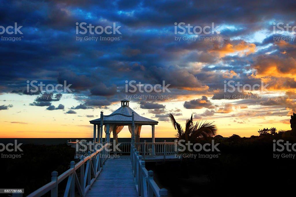 Wedding house, Dramatic Sunrise Cayo Santa Maria, Cuba stock photo