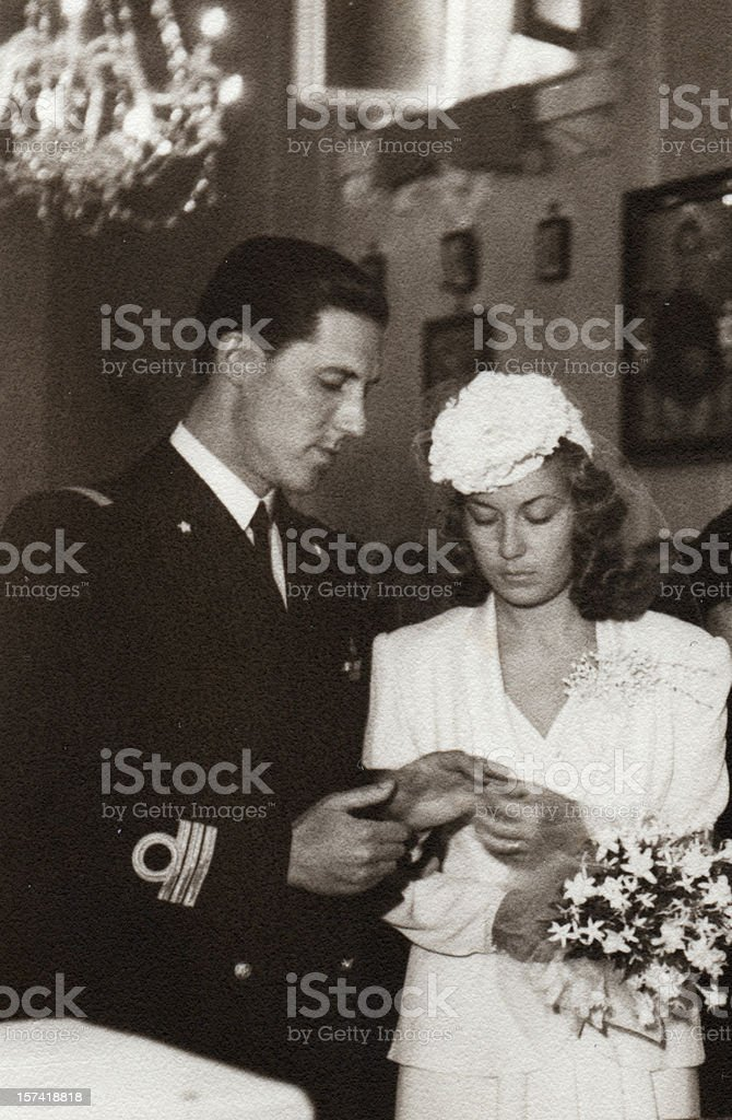 Wedding in 1941.Black And White. stock photo