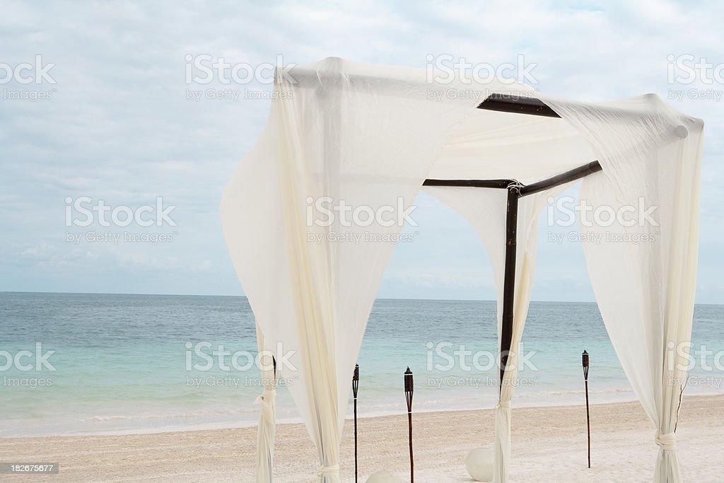 Wedding Installation On The Caribbean Beach royalty-free stock photo