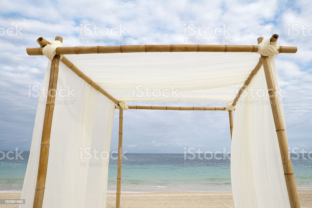 Wedding Installation On The Caribbean Beach royalty-free stock photo