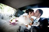wedding into the car