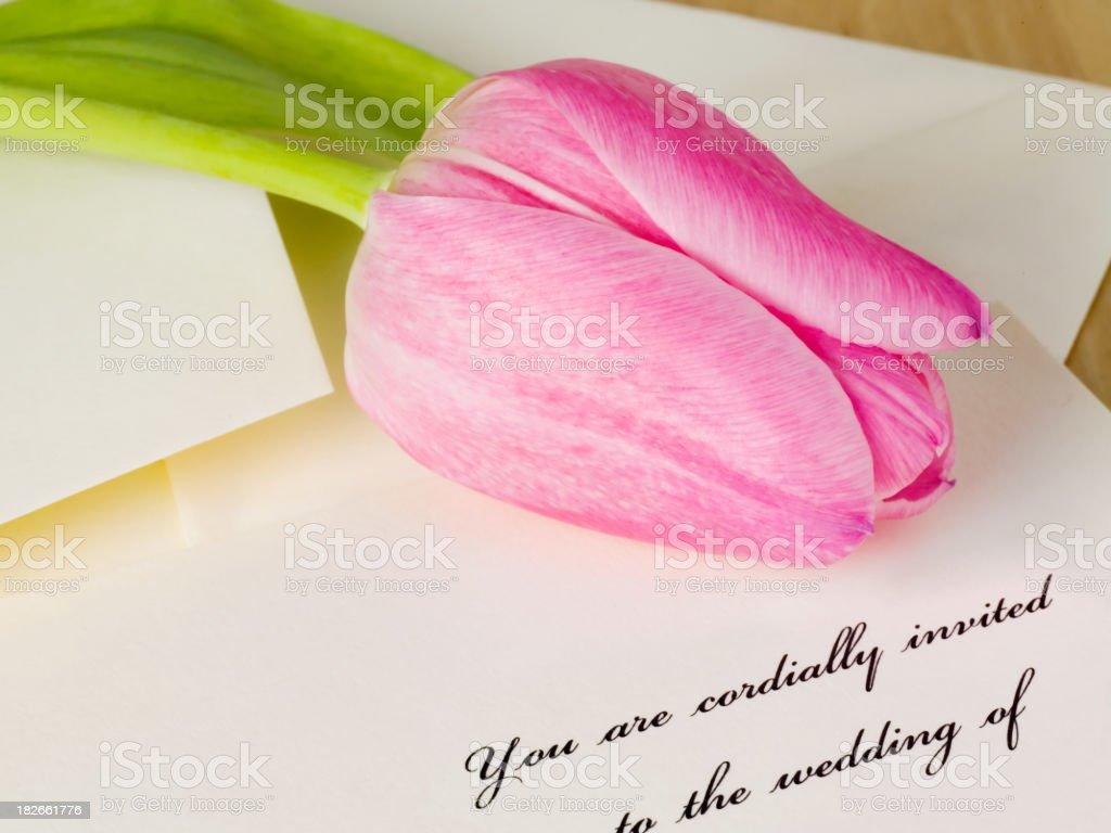 Wedding Invitation and Tulip stock photo