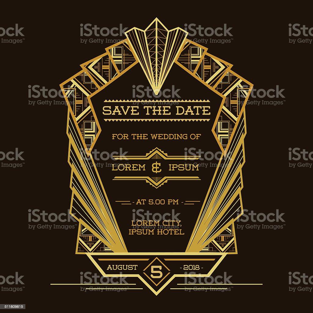 Wedding Invitation Card - Art Deco Vintage Style stock photo