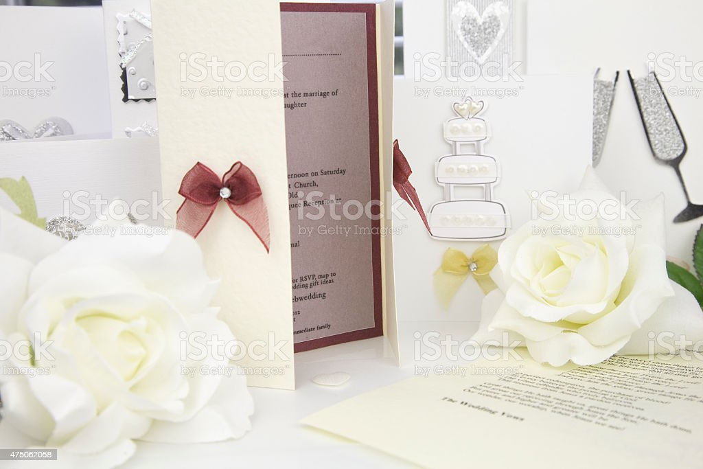 wedding invitation card stock photo