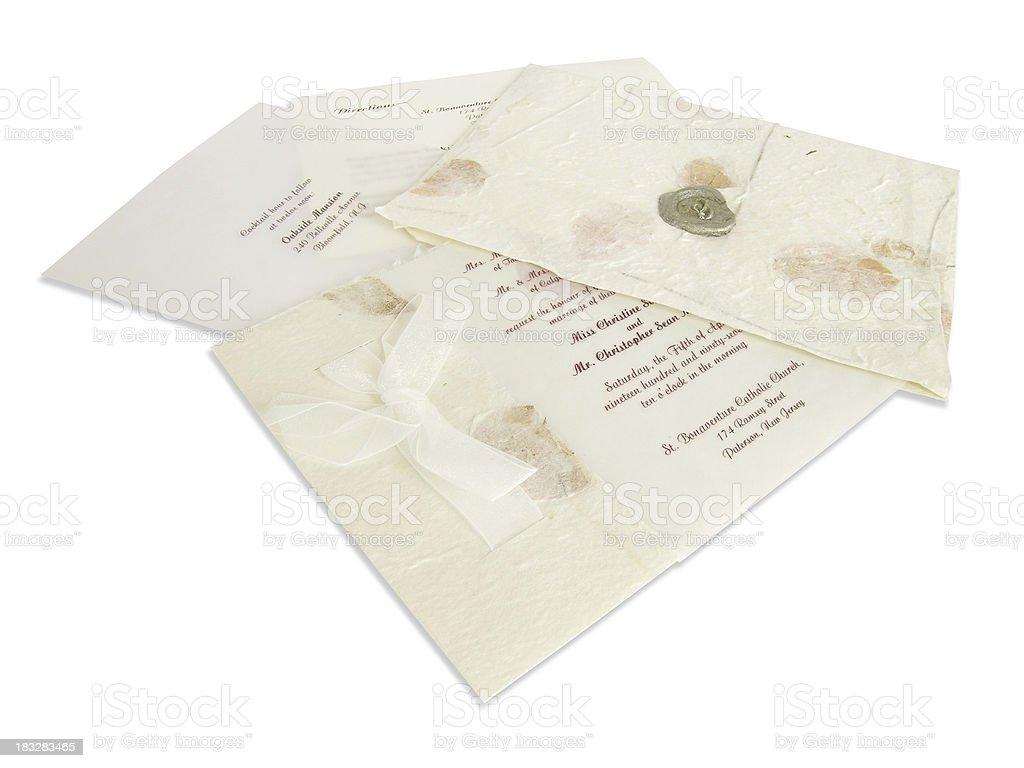 Wedding invitation (clipping path) stock photo