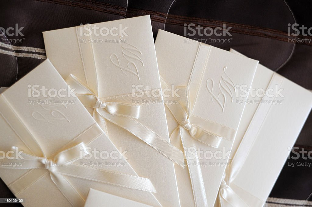 Wedding invitation (clipping path) stock photo