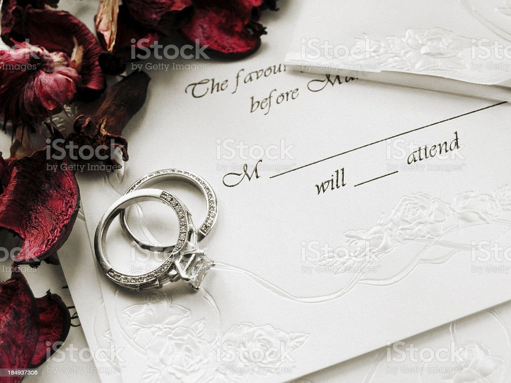 Wedding Invitation With Rose Petals stock photo