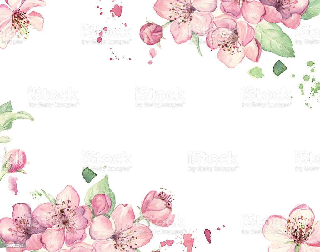 Wedding invitation with watercolor pink flowers stock photo