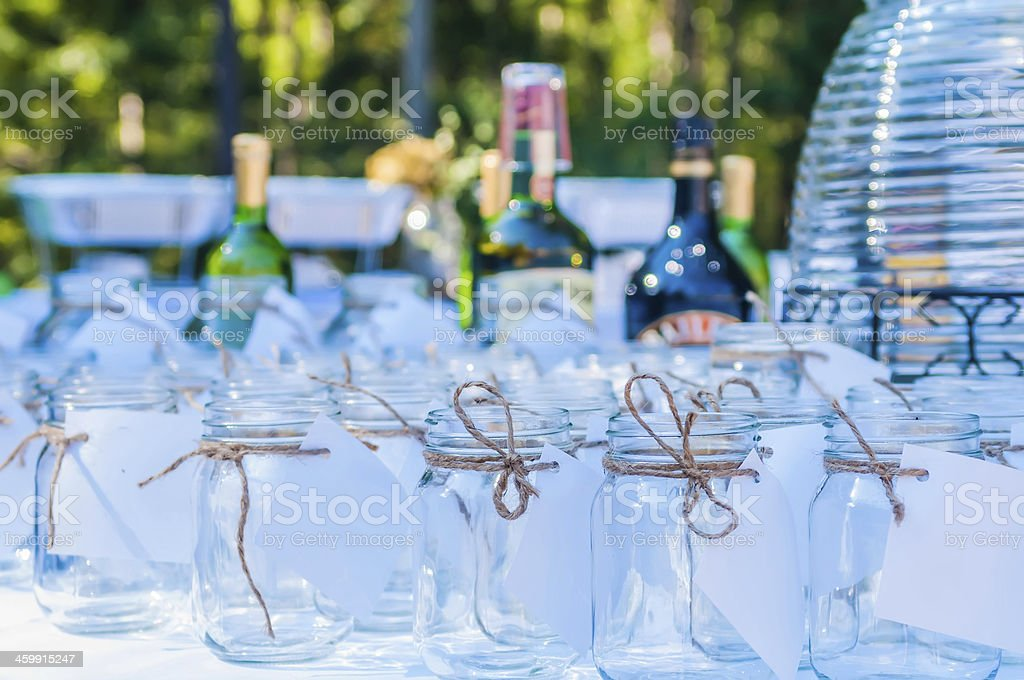 wedding liquor table with glasses and drinks royalty-free stock photo