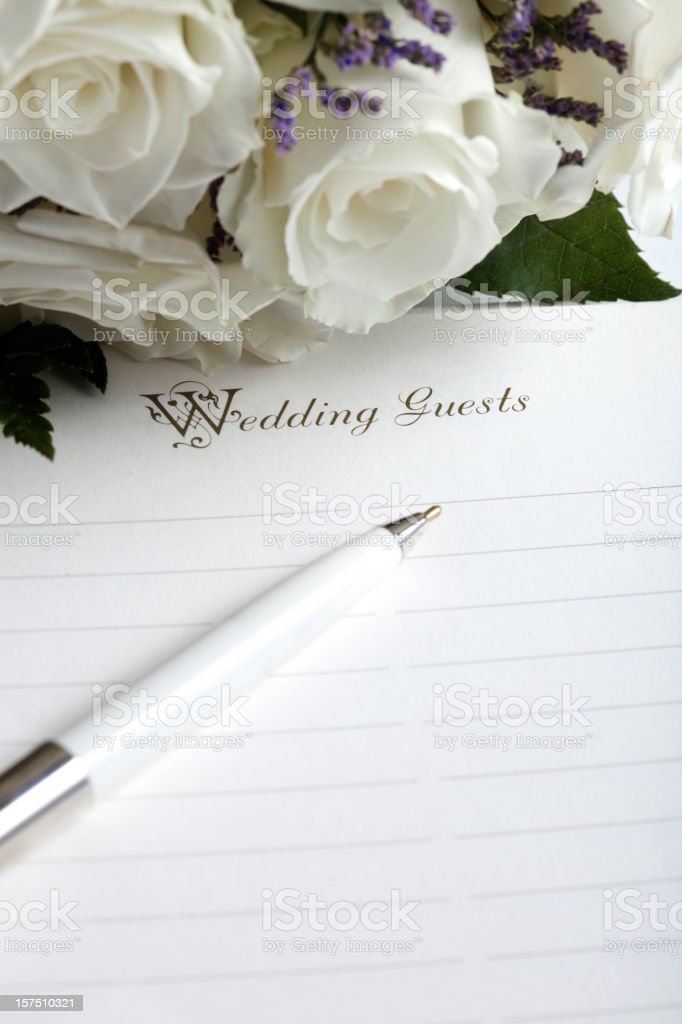 Wedding List and Flowers stock photo