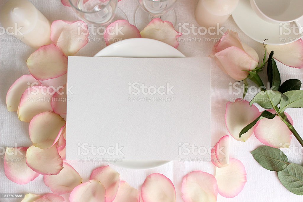 Wedding menu mockup with Rose and petals stock photo