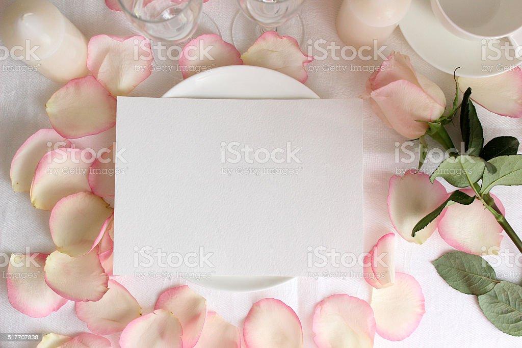 Wedding menu mockup with Rose and petals stock photo