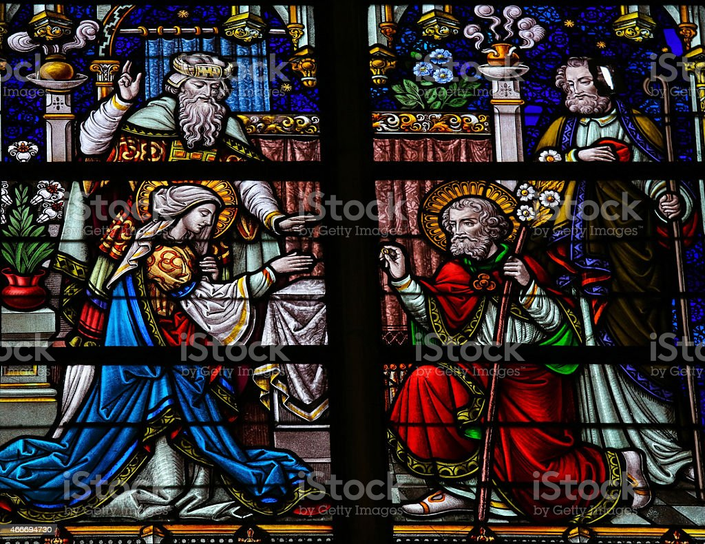 Wedding of Joseph and Mary - Stained Glass stock photo